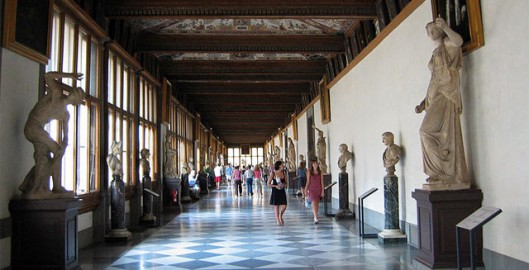 The hall in the Uffizi gallery, Florence